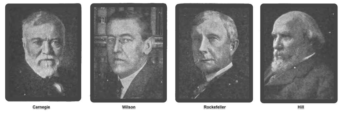 Single Image with pictures of Carnegie, Wilson, Rockefeller and Hill