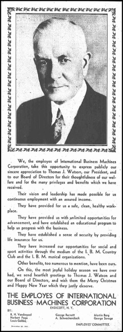 Image of advertisement taken out by the employees of IBM in support of Thomas J. Watson Sr.