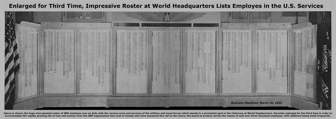 Image of Roster of IBM Servicemen that was kept at IBM's World Headquarters.