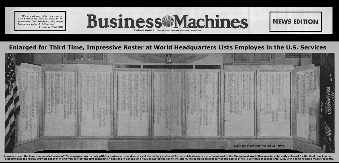 IBM Business Machines Newspaper showing the names of the IBMers in the service of their country during World War II