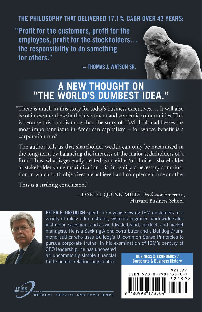 Official high-quality image of the back cover of THINK Again!: IBM CAN Maximize Shareholder Value