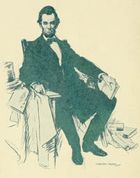 Image of Abraham Lincoln sitting in chair from