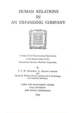 High quality image of front cover of the Yale research book: Human Relations in an Expanding Company.