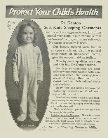 Image of an advertisement for Dr. Denton Soft-Knit Sleeping Garments to support the story of Ruth Leach about Thomas J. Watson Sr.