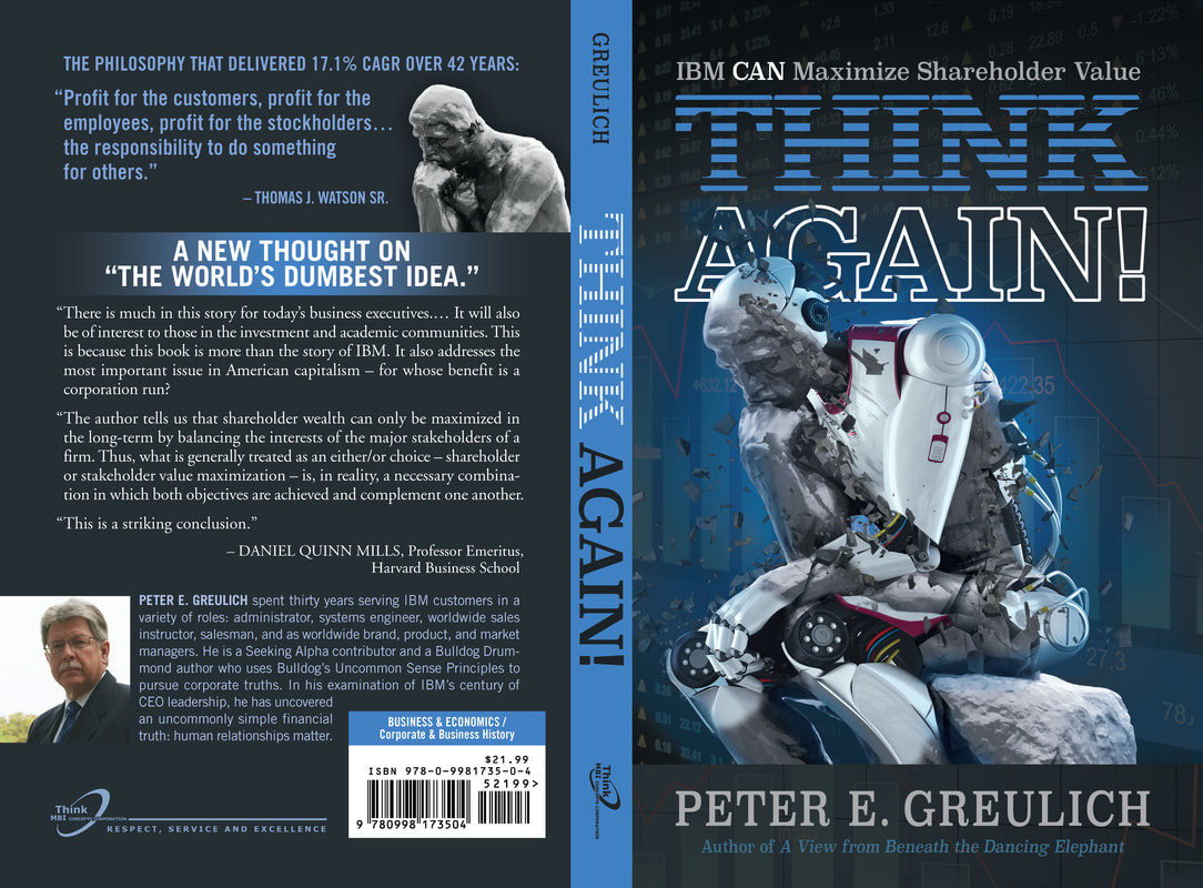 Official high-quality image of the complete cover (front, spine and back) of THINK Again!: IBM CAN Maximize Shareholder Value